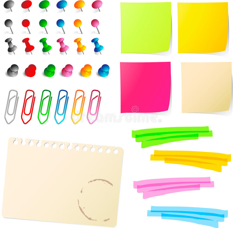 Note papers with pins and paper clip stock illustration