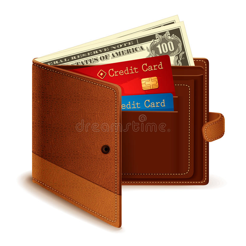 Note par la carte de crédit et du dollar dans la pochette illustration stock