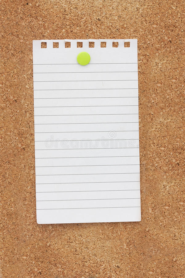 Note pinned on a noticeboard stock photography