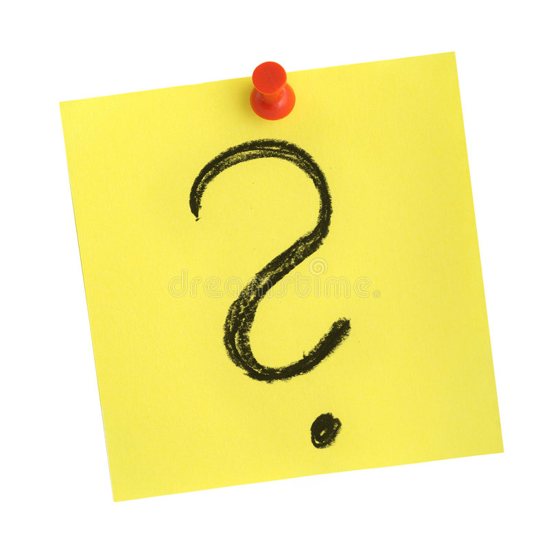 Note with question mark stock images