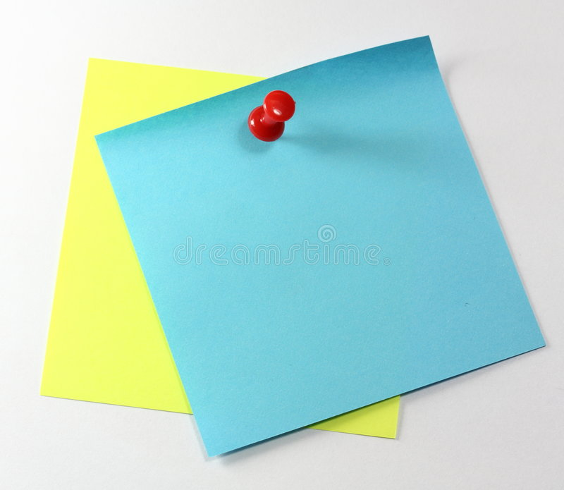 Note With Red Pin Stock Photo