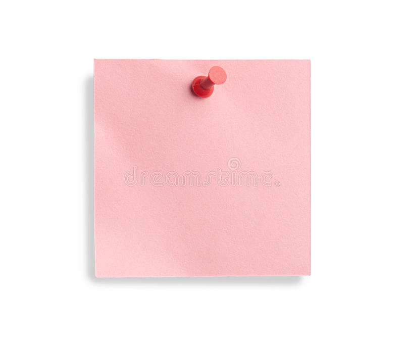 Note rose avec la broche rouge image libre de droits