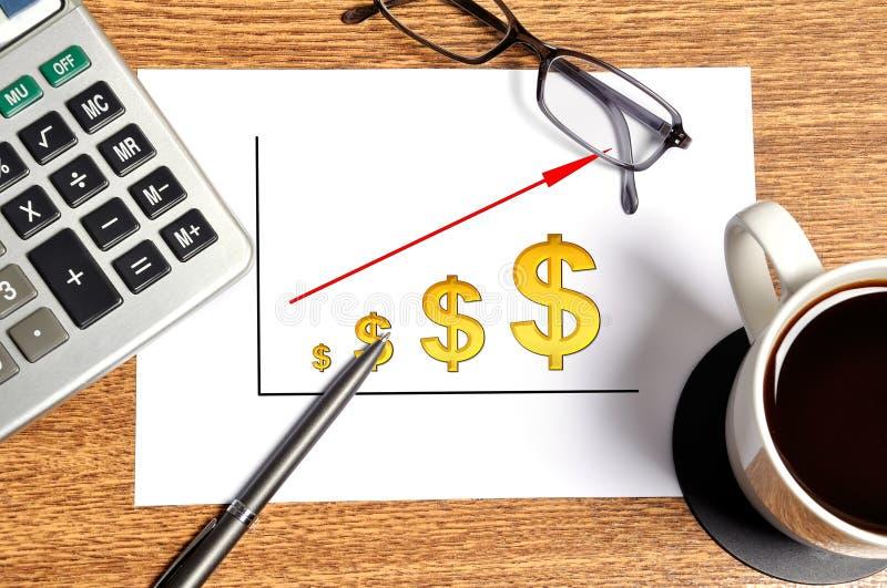 Note scheme profits. Dollar on table businessman stock photography