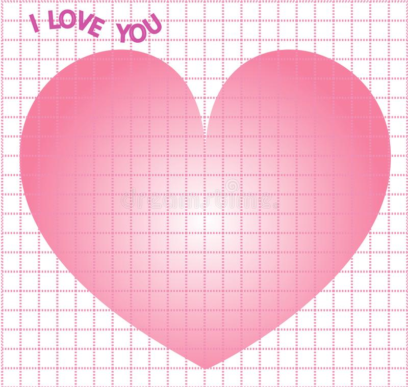 Note square grid design I love you for Valentine for printing design on theme Valentine`s Day with big heart. Vector grid stock illustration