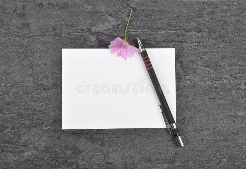 Note, stylo et mauve sur l'ardoise photo libre de droits