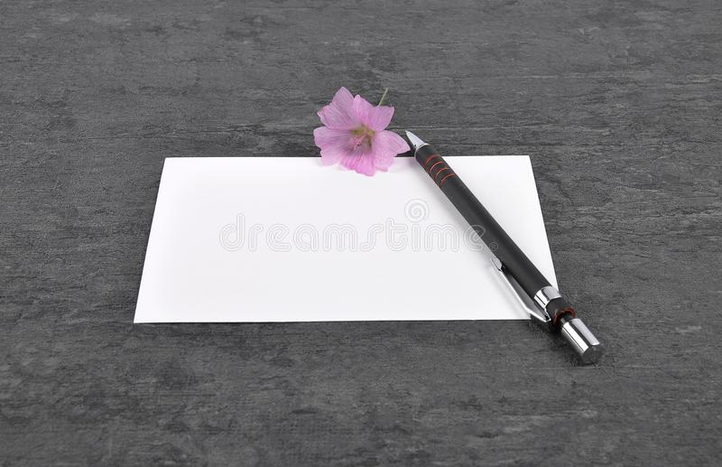 Note, stylo et mauve sur l'ardoise photos libres de droits