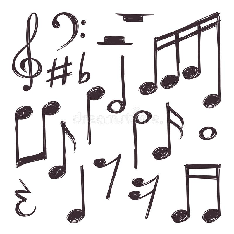 Note tirée par la main de musique Dirigez les symboles musicaux d'isolement sur la collection blanche de griffonnage illustration de vecteur