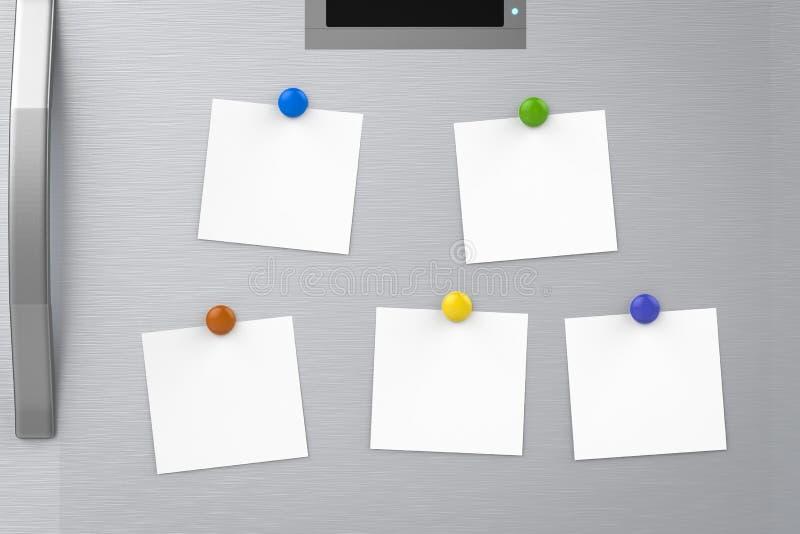 Note vuote sul frigorifero immagine stock libera da diritti
