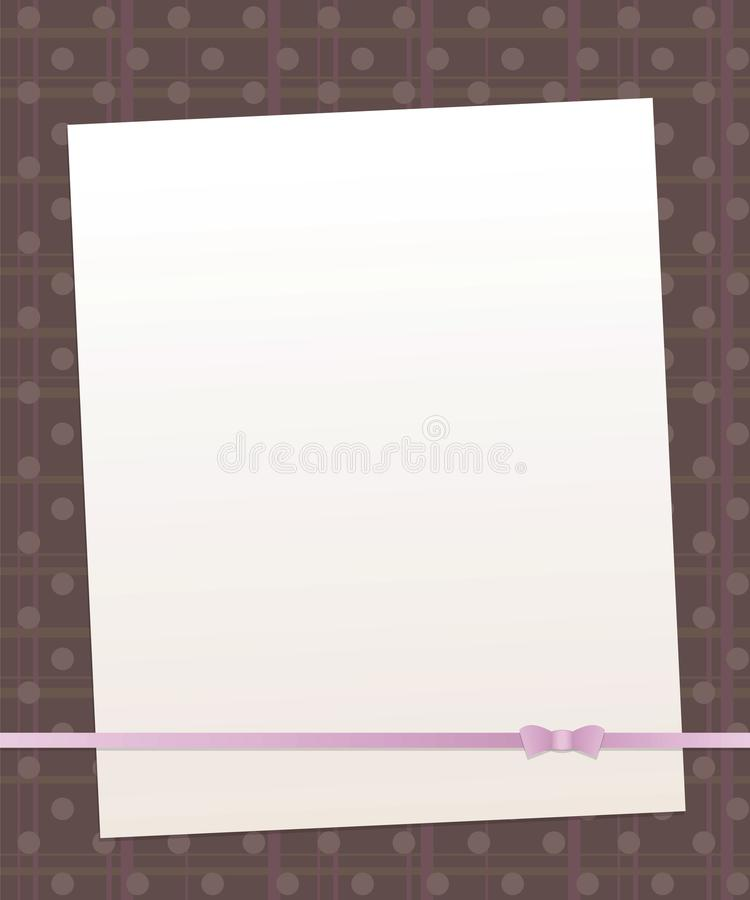 Note white paper on a dark brown background with vertical and horizontal stripes and round circles pink mother-of-pearl line bow r vector illustration
