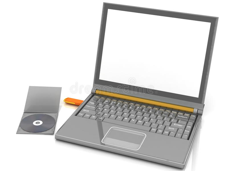 Notebook. CD lies next to a notebook in which the inserted flash drive. isolated on white stock illustration