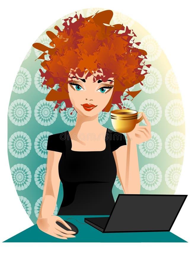 Notebook. Illustracion woman in coffe vector illustration