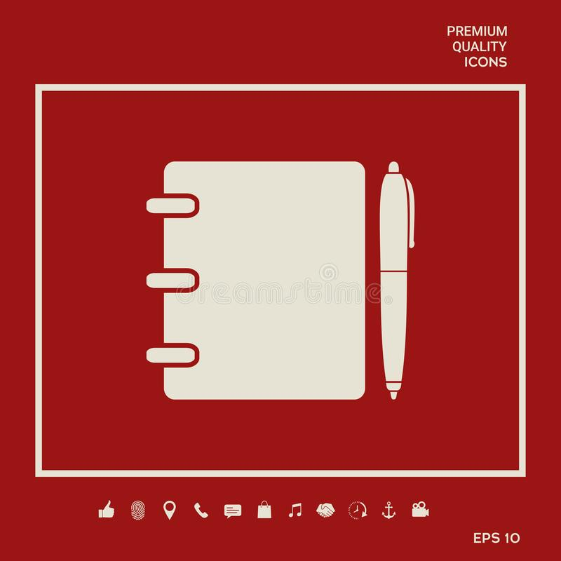 Notebook, address, phone book with pen symbol icon. Graphic elements for your design. Notebook, address, phone book with pen symbol icon royalty free illustration