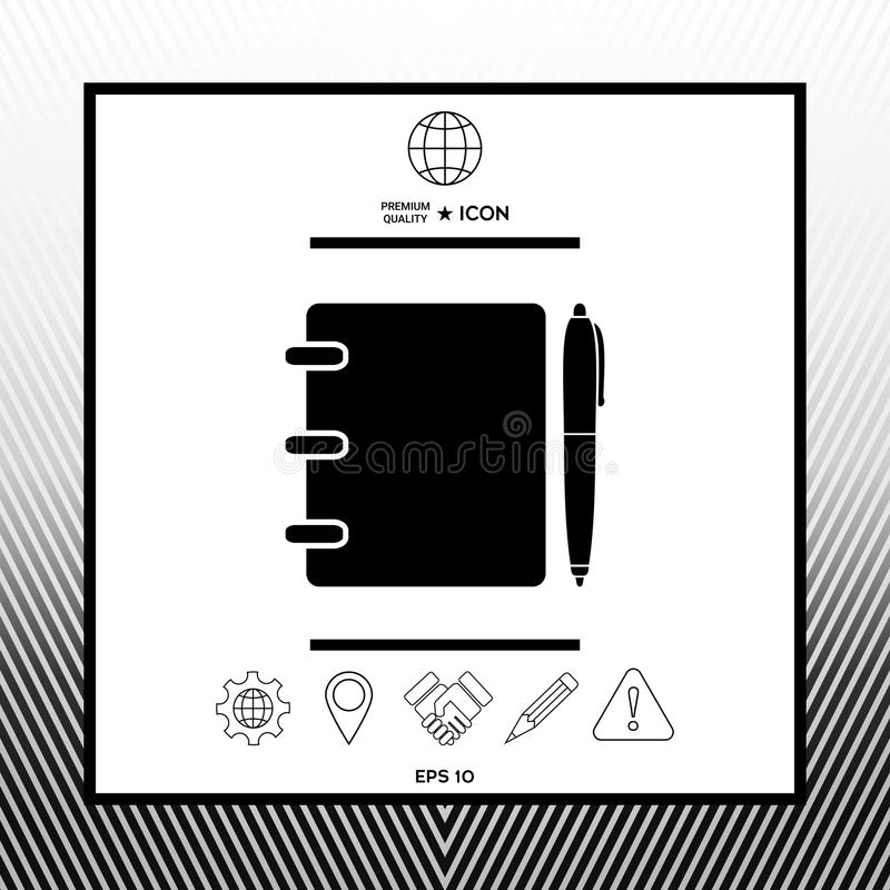 Notebook Address Phone Book With Pen Symbol Icon Stock Vector