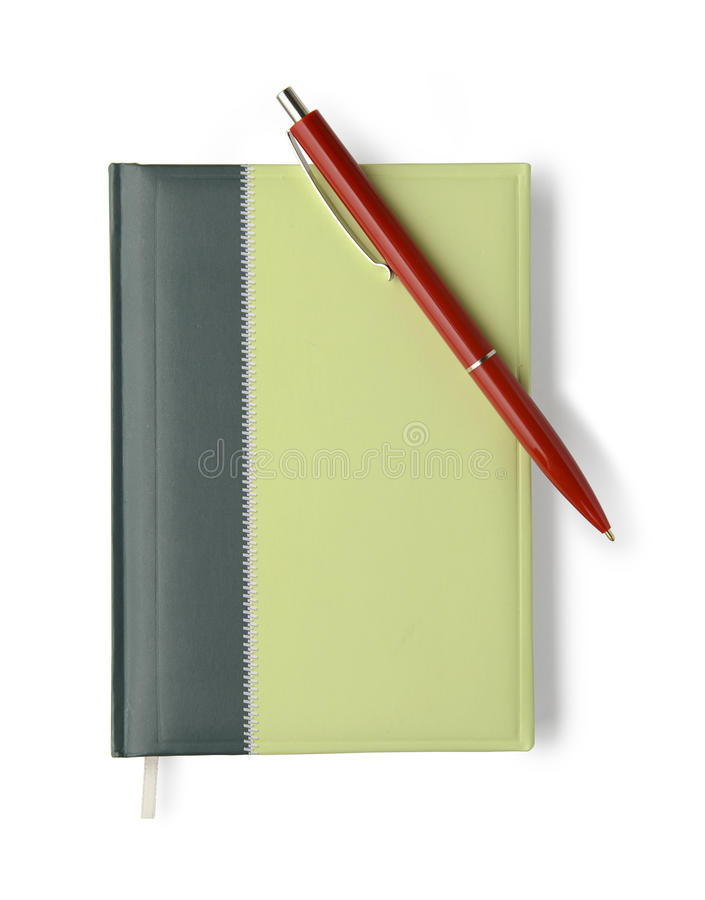 Free Notebook And Silver Pen On White Background With Clipping Path Stock Images - 42726784
