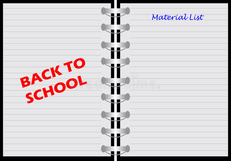 Notebook with back to school. Illustration of a notebook with material list stock illustration