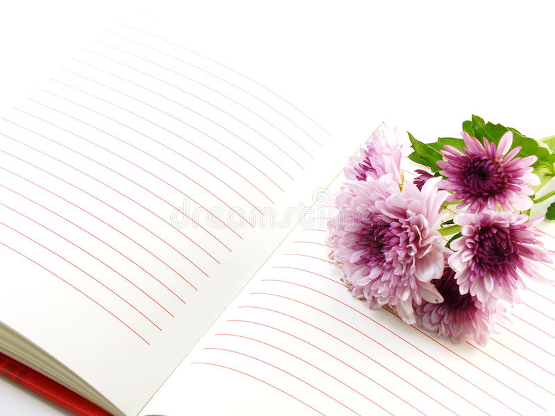 Notebook and beautiful chrysanthemums pink flowers bouquet stock photo
