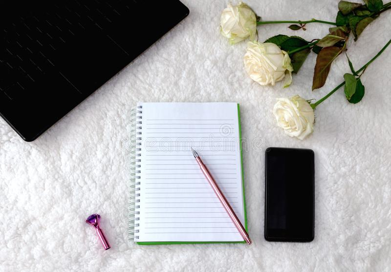 Notebook And Beautiful Pen On A Light Background Stock Image ...