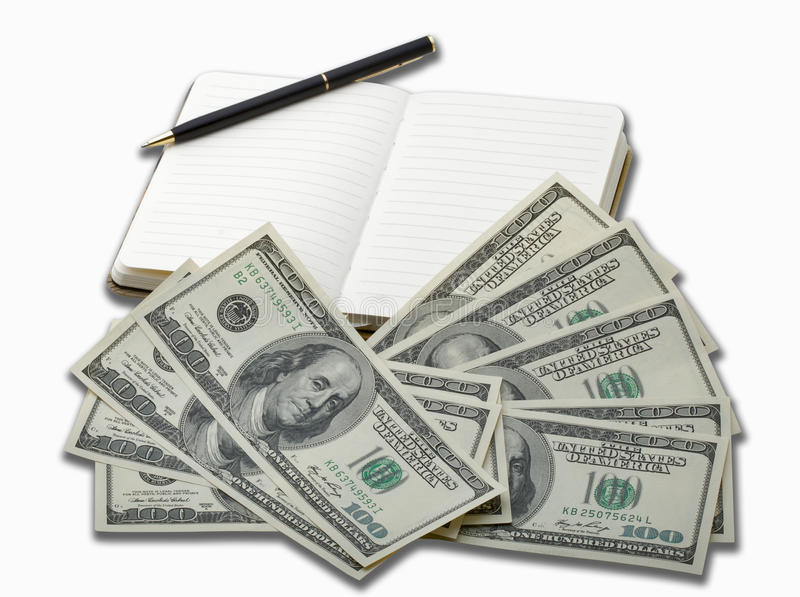 Notebook with black pen and 100 dollar banknotes royalty free stock images