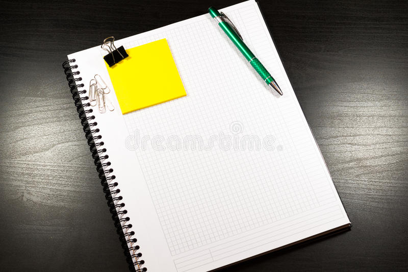 Notebook With Blank Sheet Of Paper, Pen, Sticky Notes On