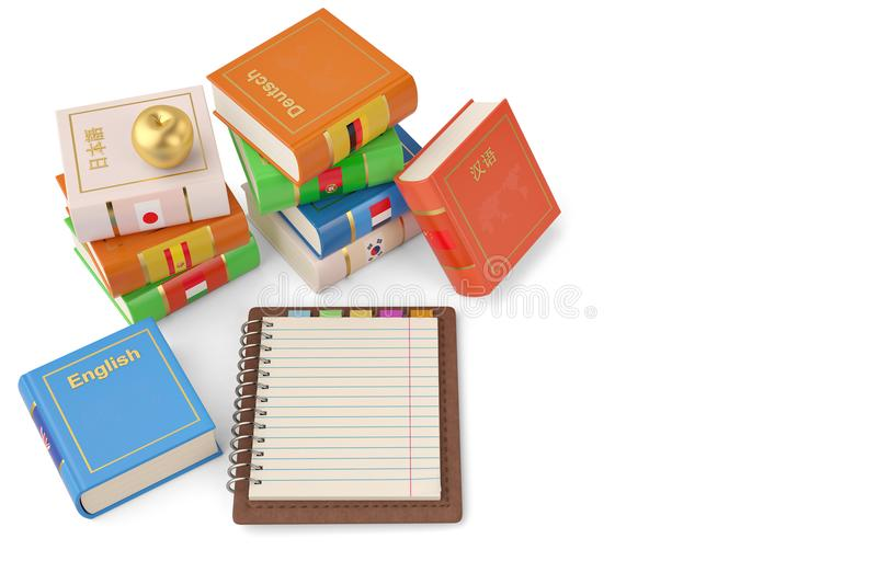Notebook and books foreign languages learn and translate education concept books with covers in colors of national. 3d illustration stock image