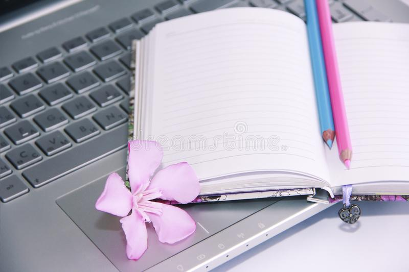 Notebook for business, pink and blue pencils and laptop computer keys. Notebook for business, pink and blue pencils and laptop computer a keys stock images