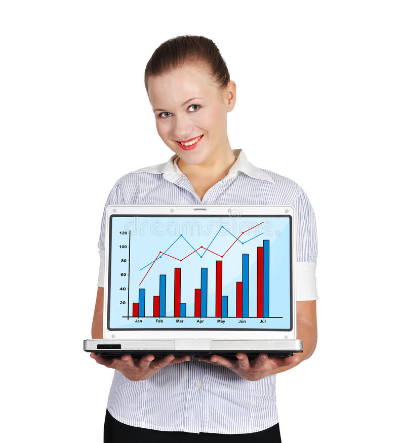 Notebook with chart. Girl holding notebook with chart on a white background royalty free stock images