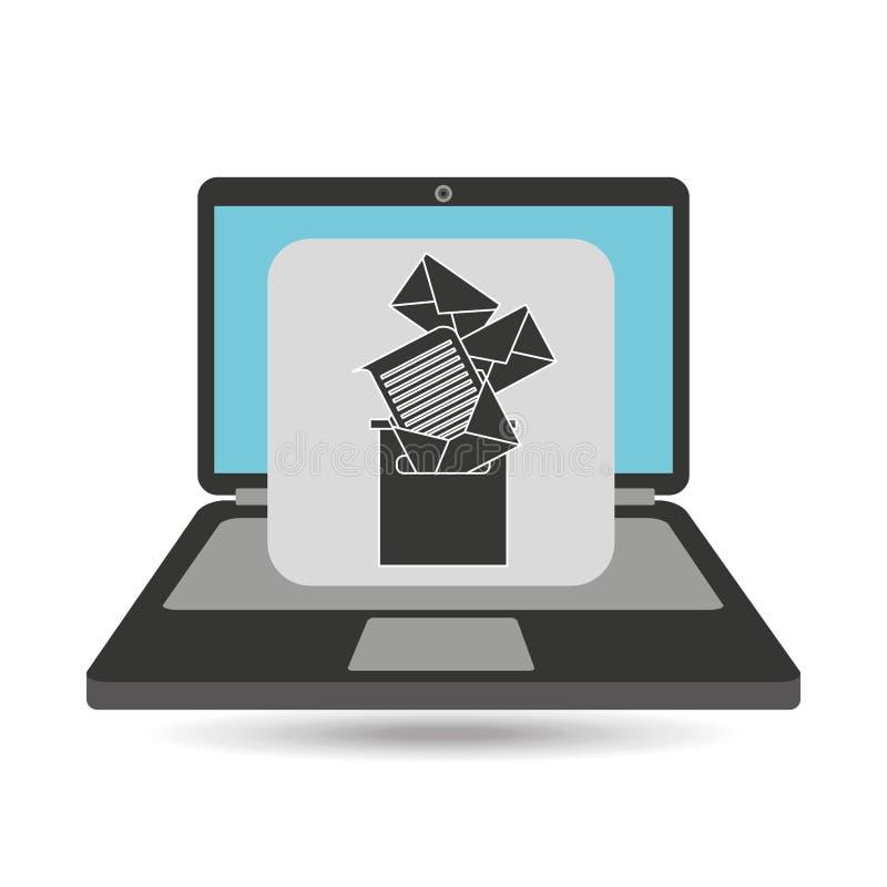 Notebook computer messaging marketing. Vector illustration eps 10 vector illustration