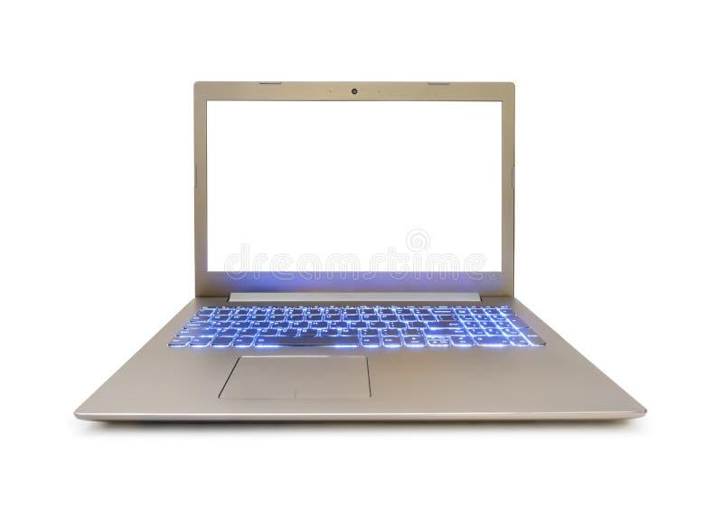 Notebook-Computer mit blauer Tastatur-Hintergrundbeleuchtung stockfoto