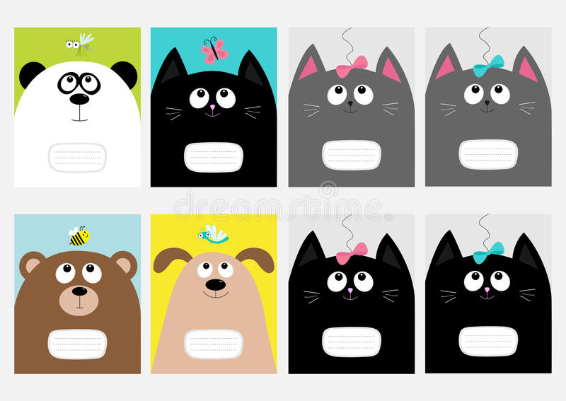 Notebook cover Composition book template. Baby cat, panda, dog, bear kitty head. Bow, butterfly, dragonfly, bee, mosquito. Cute ca. Notebook cover Composition vector illustration