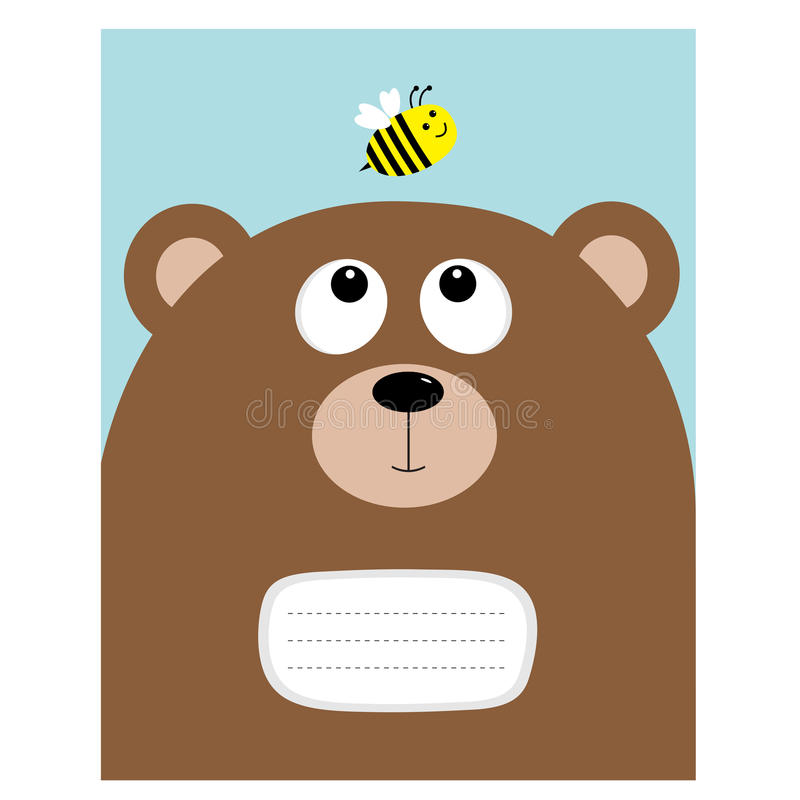Notebook cover Composition book template. Bear grizzly big head looking at honey bee insect. Cute cartoon character. Forest baby vector illustration