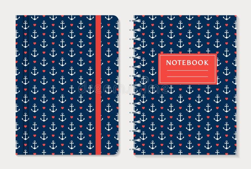 Notebook cover design. Vector set. stock illustration