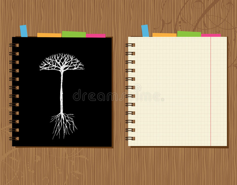 Notebook Cover And Page Design, Wooden Background Stock Vector