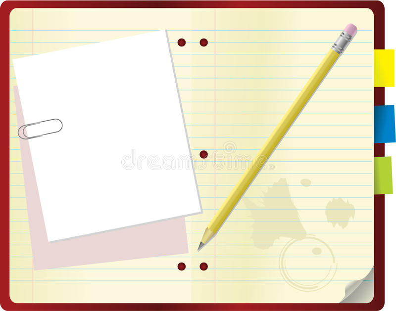 Notebook with crayon and paperclip vector stock illustration