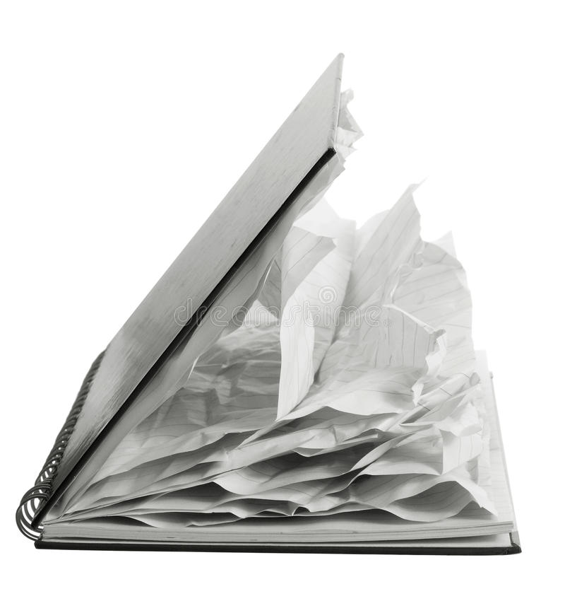 Notebook with Crumpled Pages royalty free stock image
