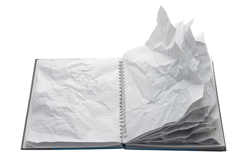 Notebook with Crumpled Pages stock images