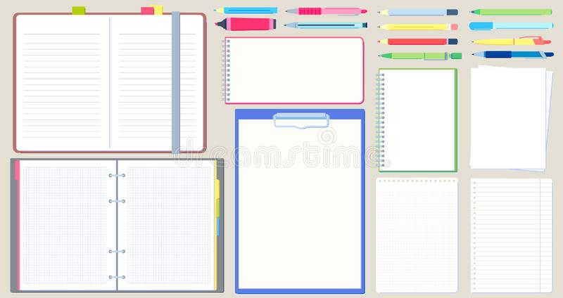 Notebook diary. Open notepad, empty sketchbook with writing pen and drawing pencil vector illustration set. Notebook diary. Open notepad, empty sketchbook with royalty free illustration