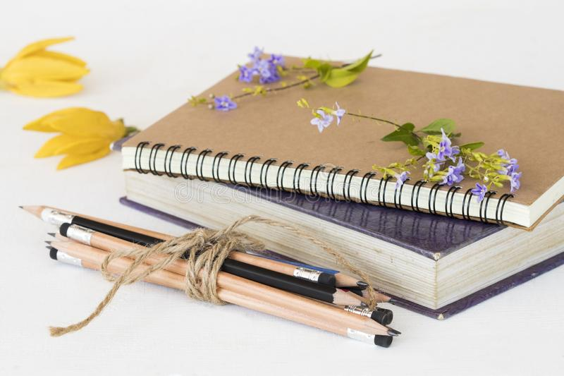 Notebook ,dictionary book and pencil of student for study. With flower ylang ,purple flower  decoration on background white royalty free stock photos
