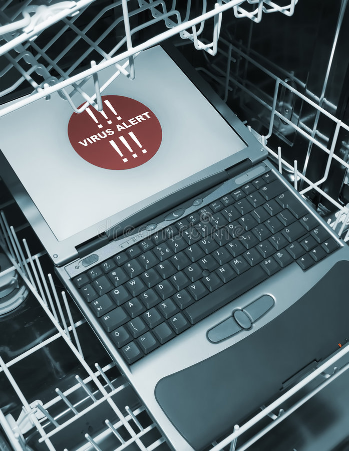 Download Notebook In Dishwasher From Above  - Virus Alert Stock Photo - Image: 523846