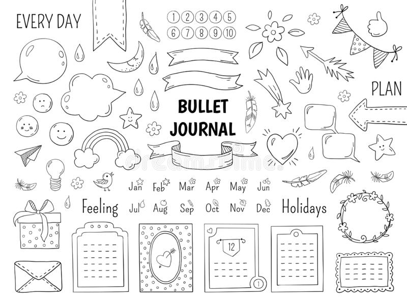 Notebook doodle bullet. Hand drawn diary frame, journal linear list borders and elements. Vector sketch doodle planner vector illustration