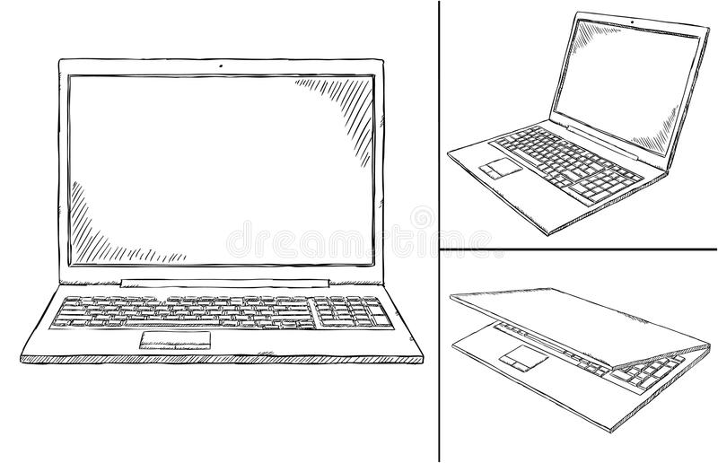 Notebook doodle in 3 different views royalty free illustration