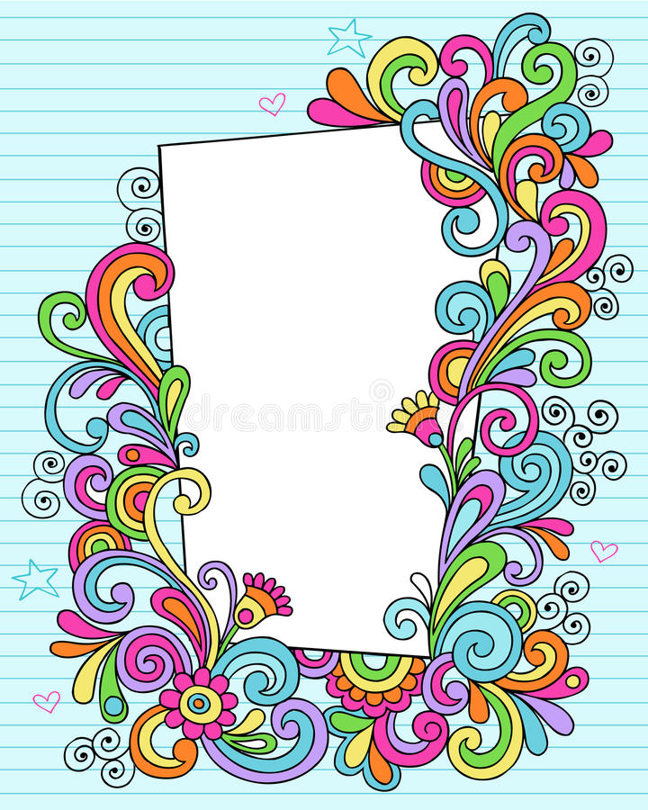 Notebook doodle rectangle royalty free illustration