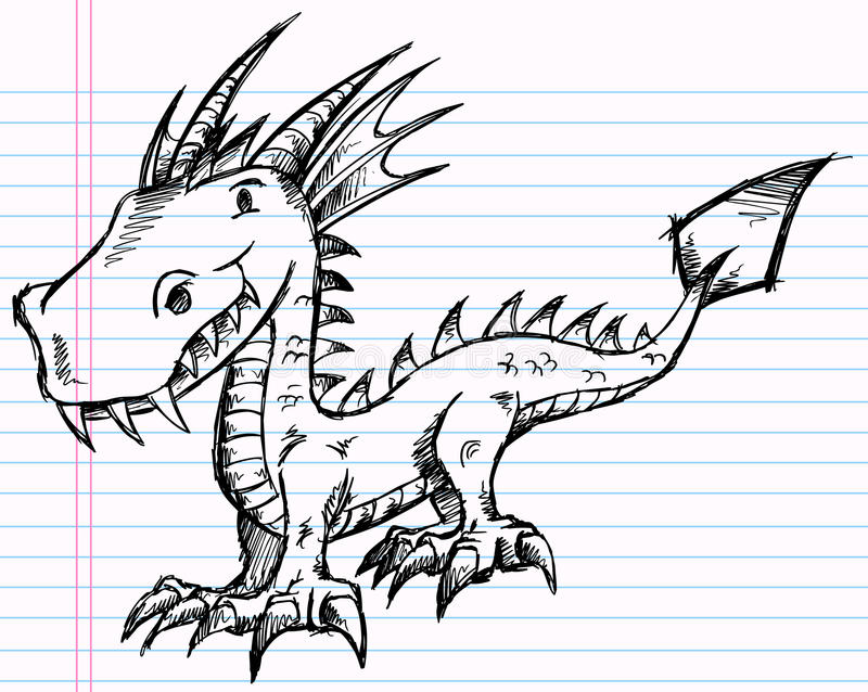 Notebook And Pen Sketch Stock Vector Art More Images Of: Notebook Doodle Sketch Dragon Vector Art Stock Photography
