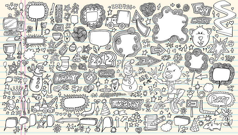 Notebook Doodle Vector Illustration Set stock image