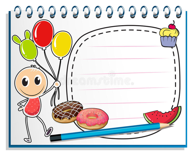 A notebook with a drawing of a boy holding balloons royalty free illustration