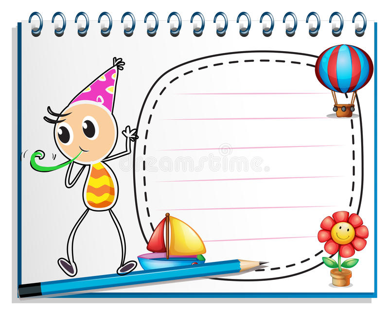 A notebook with a drawing of a boy with a party hat royalty free illustration