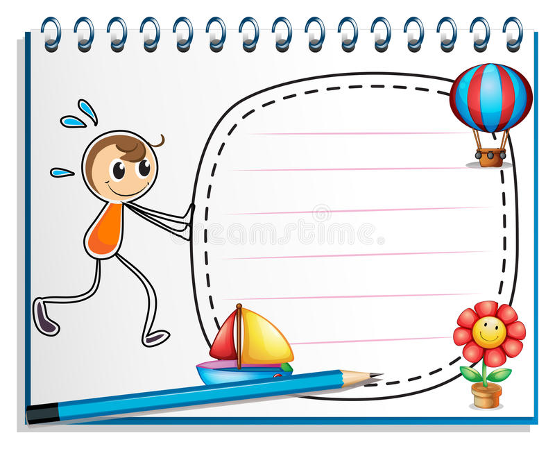 A notebook with a drawing of a boy pushing the empty signage stock illustration