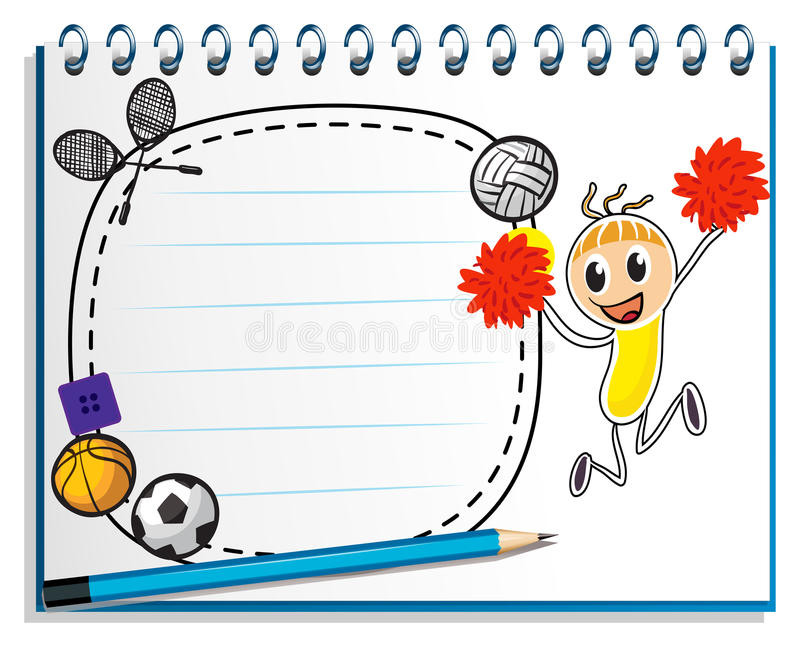A notebook with a drawing of a cheerer beside an empty space royalty free illustration