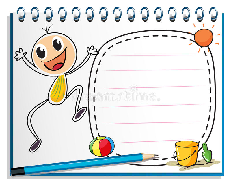 A notebook with a drawing of a child jumping royalty free illustration