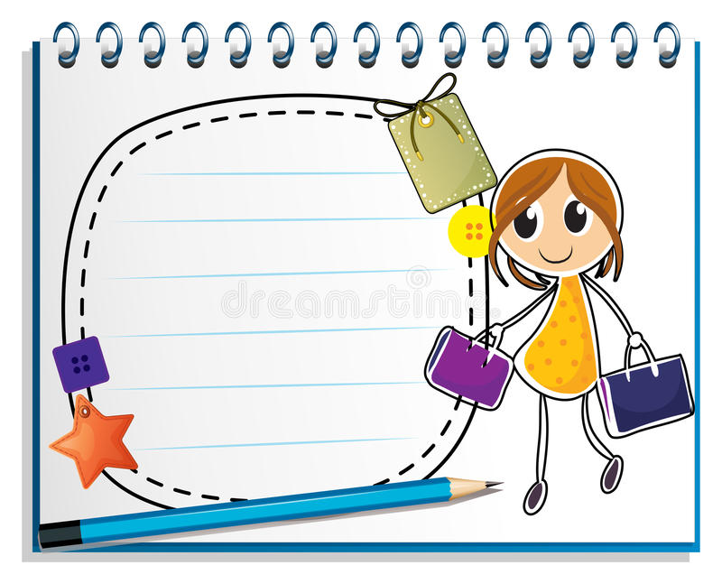 A notebook with a drawing of a girl holding bags stock illustration