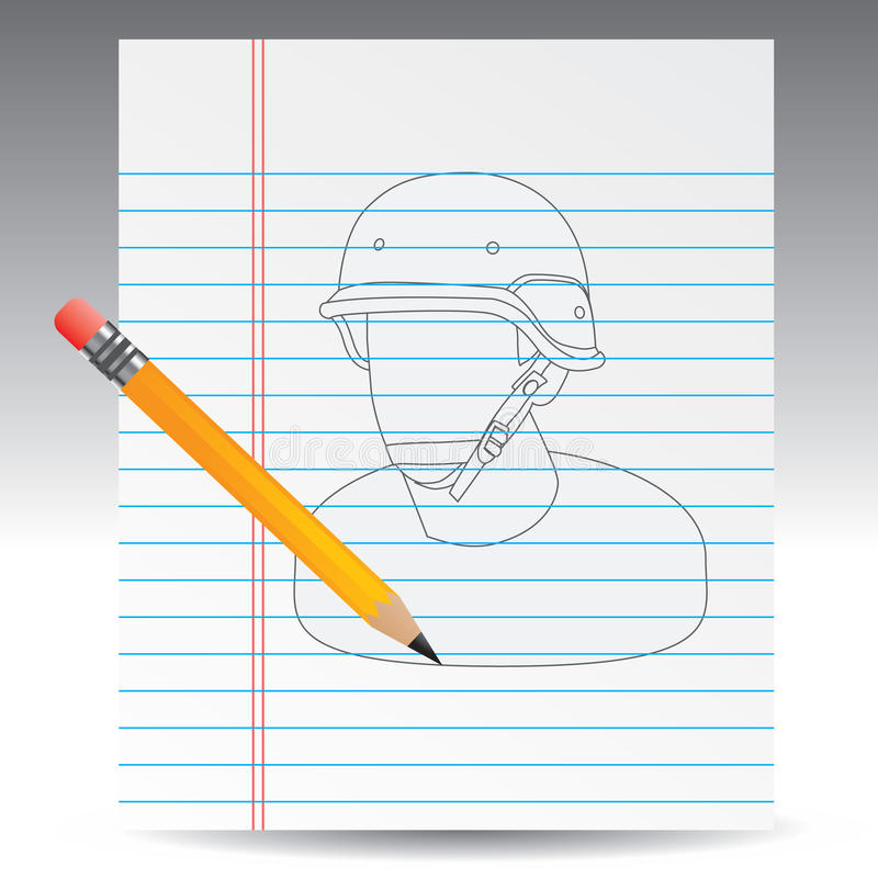 Notebook Drawing With Pencil Of Army Man Stock Image